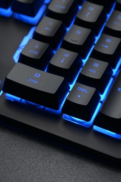 Black keyboard on the dark office desk